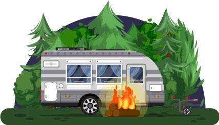 RV Camper Trailer and Campfire in Campsite Trees