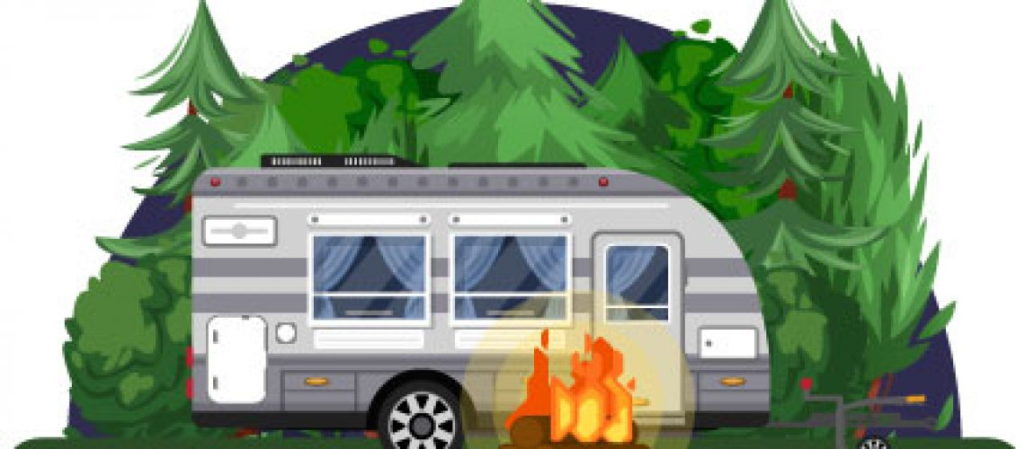 RV Camper Trailer and Campfire in Campsite Trees